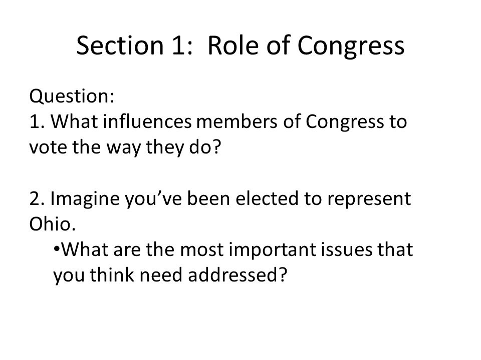 Section 1: Role of Congress