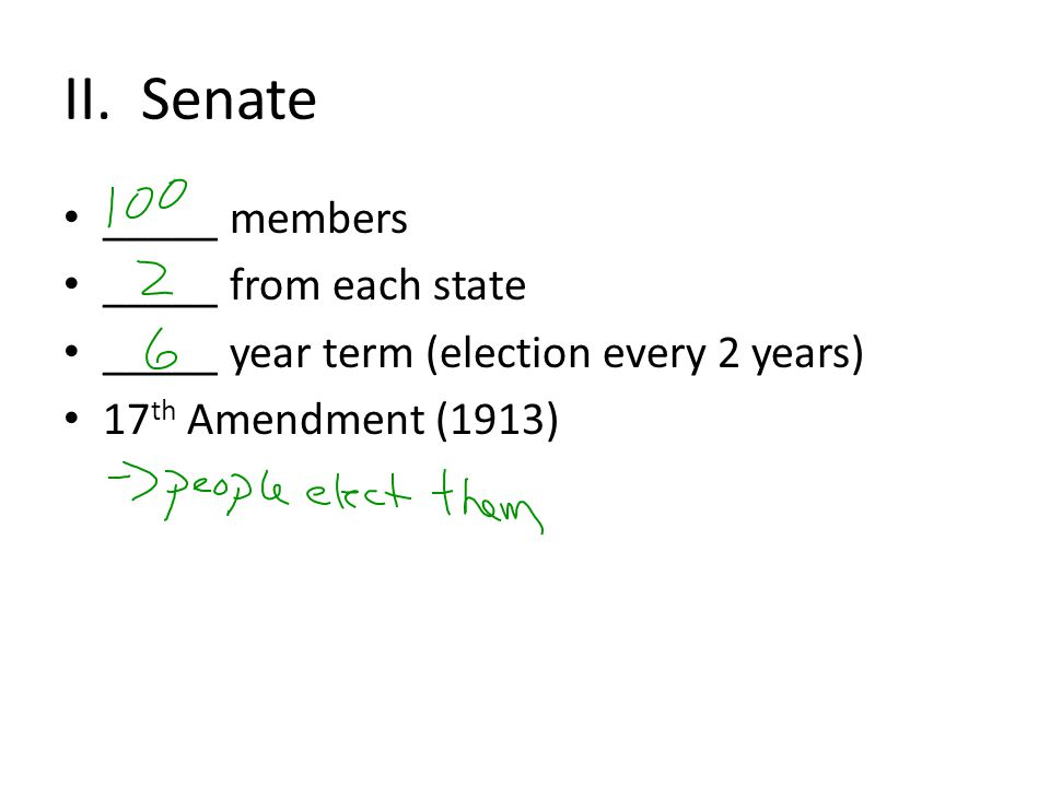 II. Senate _____ members _____ from each state