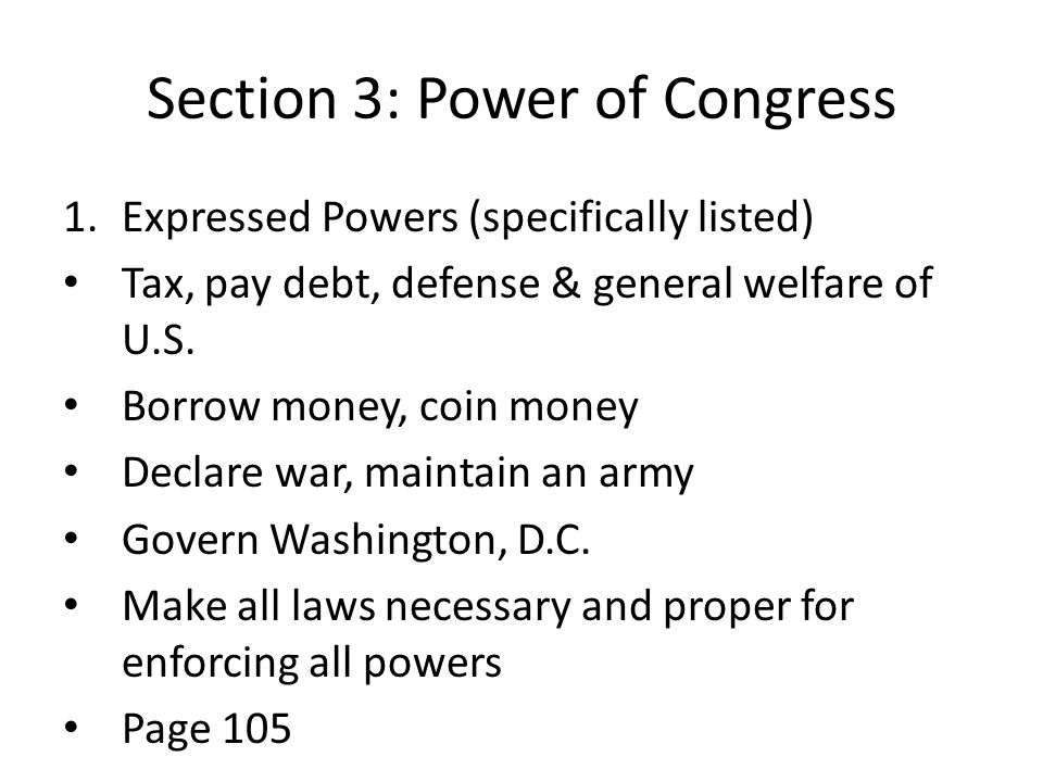 Section 3: Power of Congress