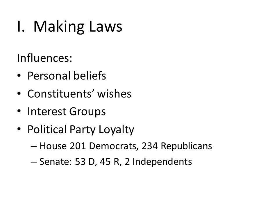 I. Making Laws Influences: Personal beliefs Constituents' wishes