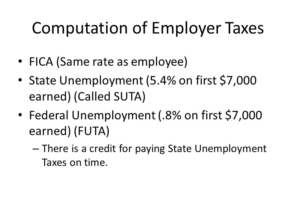Computation of Employer Taxes