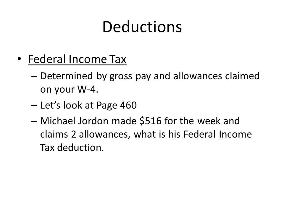 Deductions Federal Income Tax