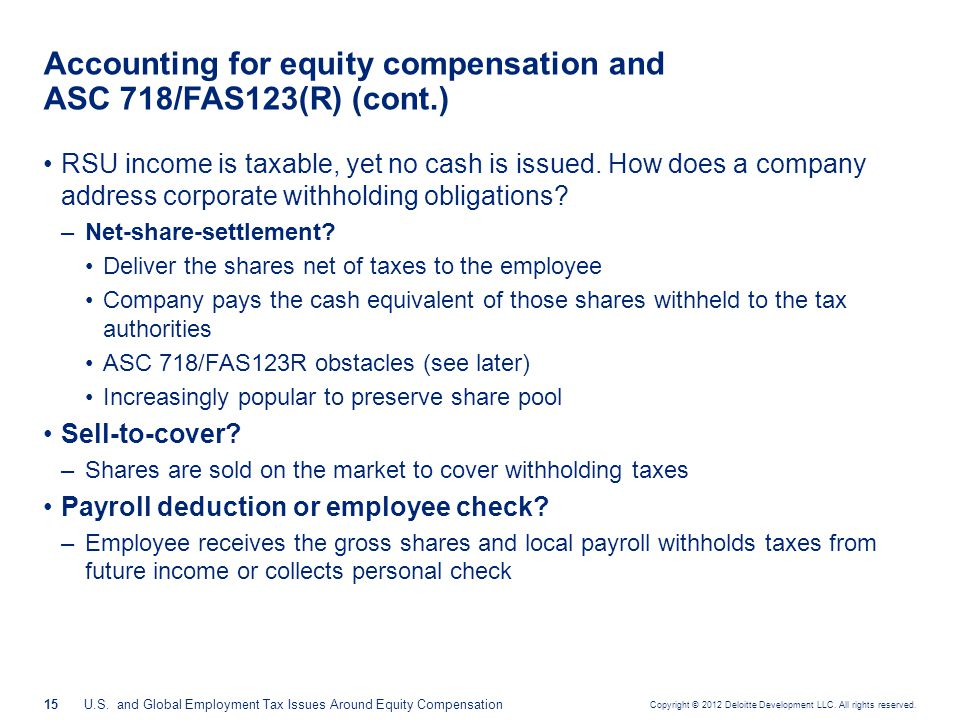Accounting for equity compensation and ASC 718/FAS123(R) (cont.)