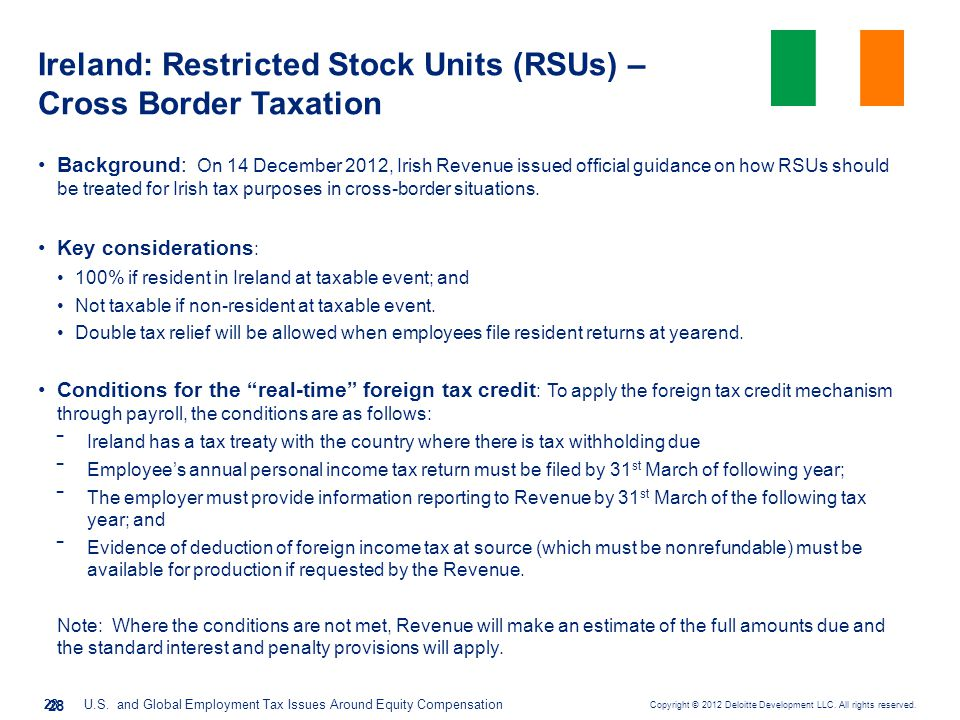 Ireland: Restricted Stock Units (RSUs) – Cross Border Taxation