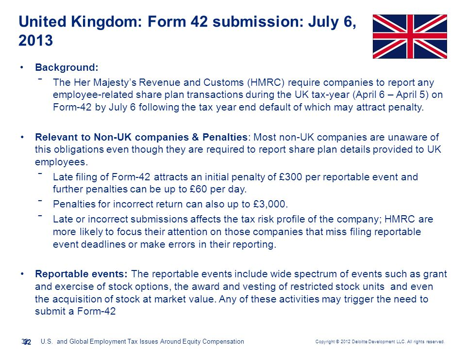 United Kingdom: Form 42 submission: July 6, 2013