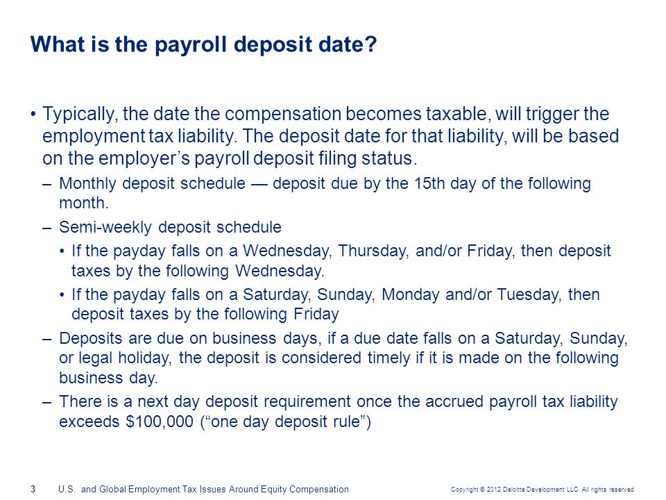 Typical liability dates