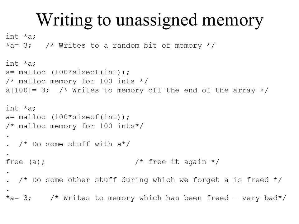 Writing to unassigned memory