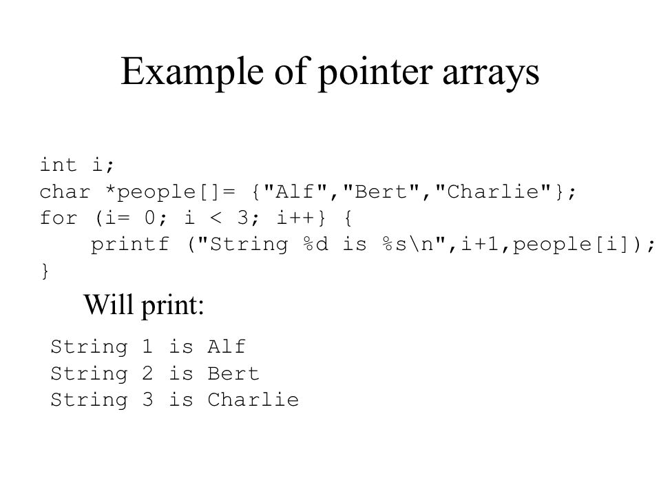 Example of pointer arrays