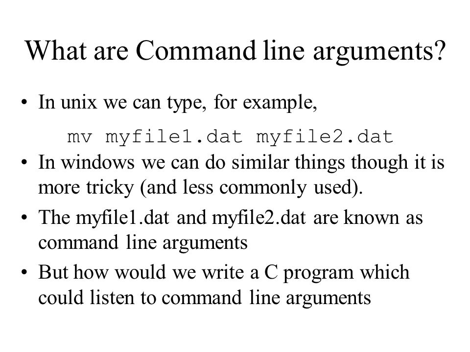 What are Command line arguments