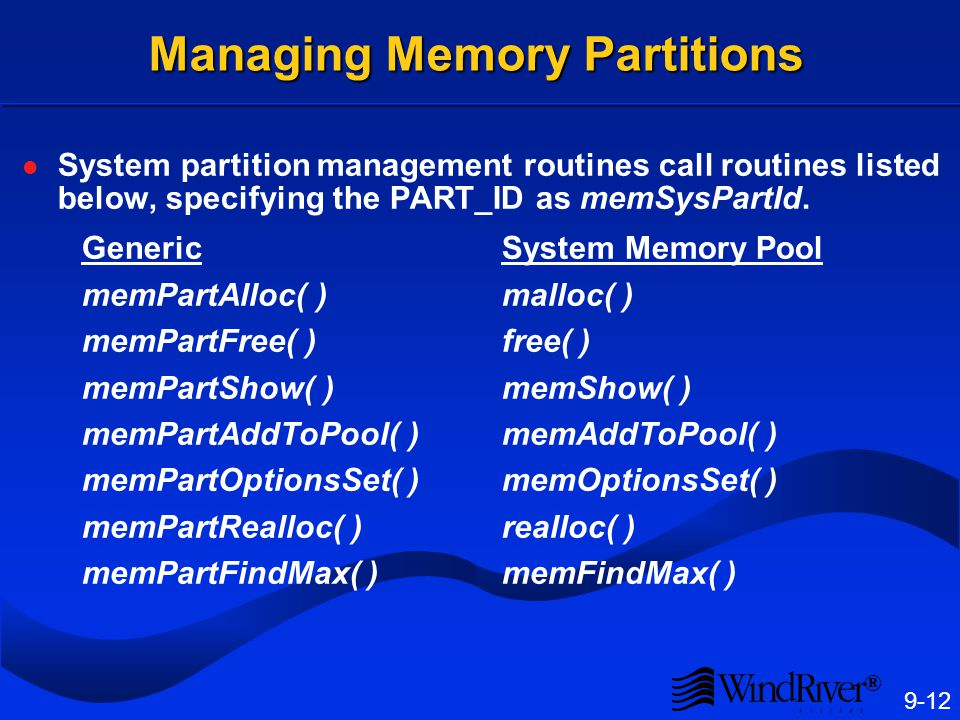 Creating a Memory Partition