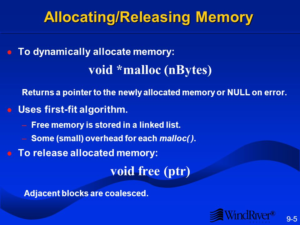 System Memory Pool Used for dynamic memory allocation in programs: