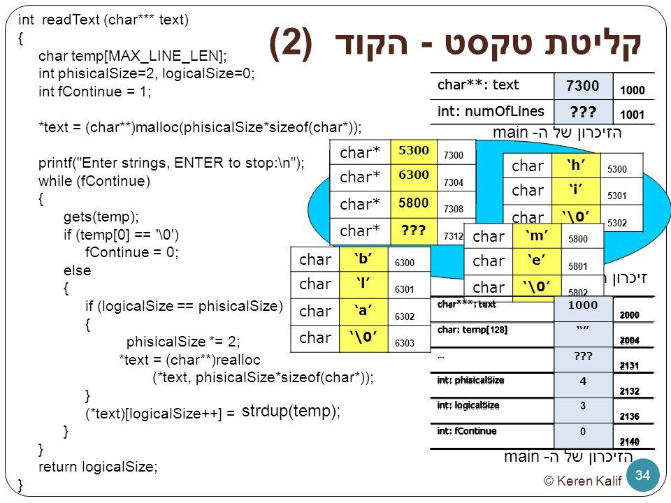 קליטת טקסט - הקוד (2) הזיכרון של ה- main זיכרון ה- heap strdup(temp);