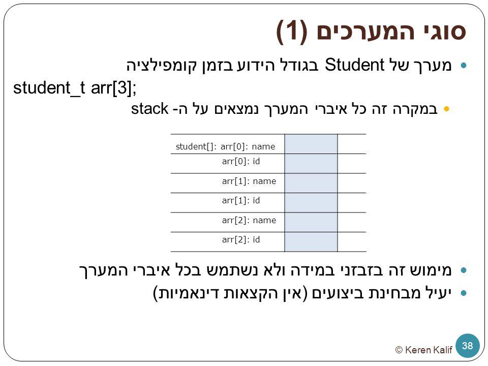 סוגי המערכים (1) מערך של Student בגודל הידוע בזמן קומפילציה