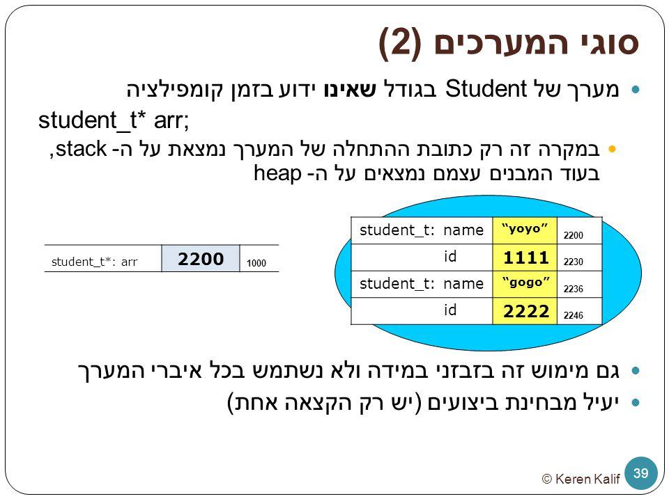 סוגי המערכים (2) מערך של Student בגודל שאינו ידוע בזמן קומפילציה