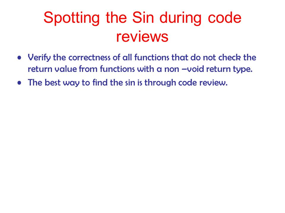 Spotting the Sin during code reviews