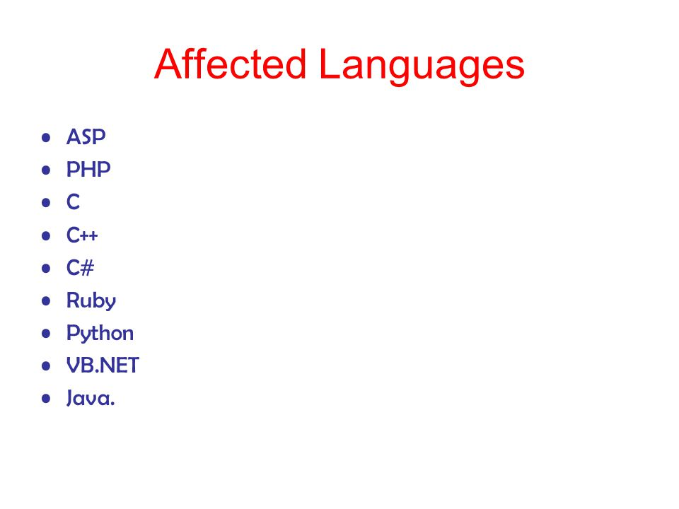 Affected Languages ASP PHP C C++ C# Ruby Python VB.NET Java.