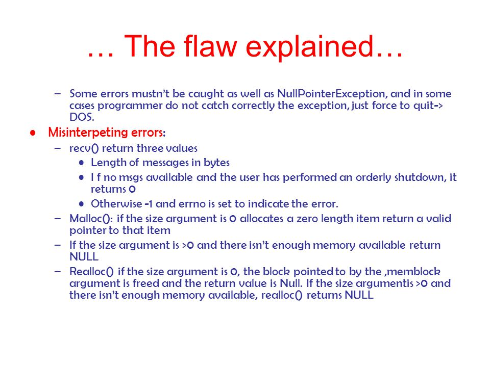 … The flaw explained… Misinterpeting errors: