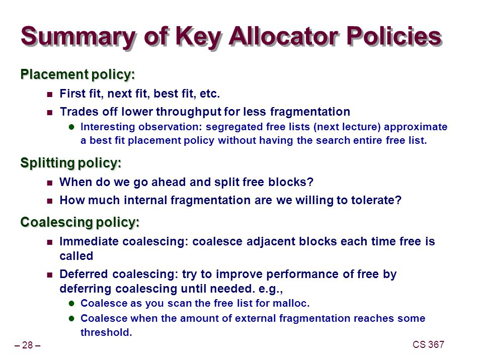 Summary of Key Allocator Policies