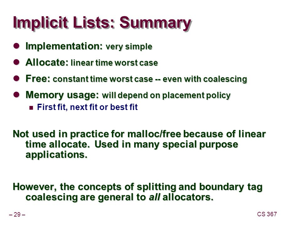 Implicit Lists: Summary