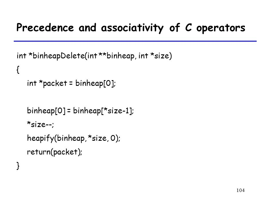 Precedence and associativity of C operators
