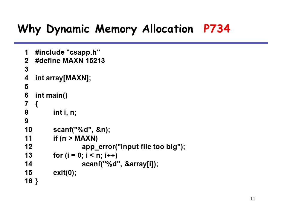 Why Dynamic Memory Allocation P734