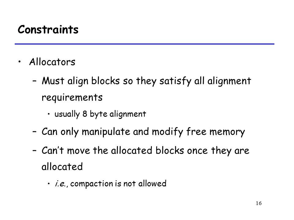Constraints Allocators