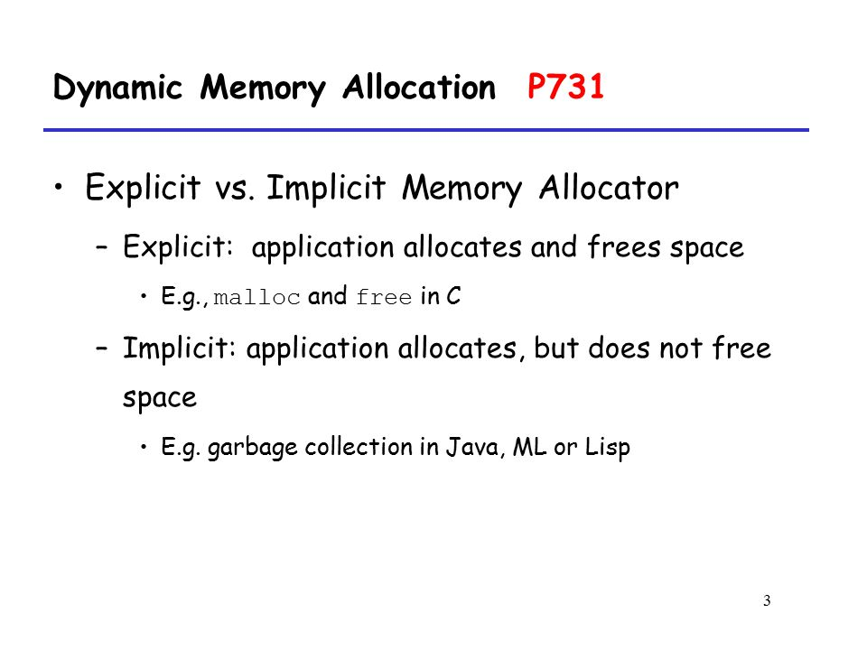 Dynamic Memory Allocation P731