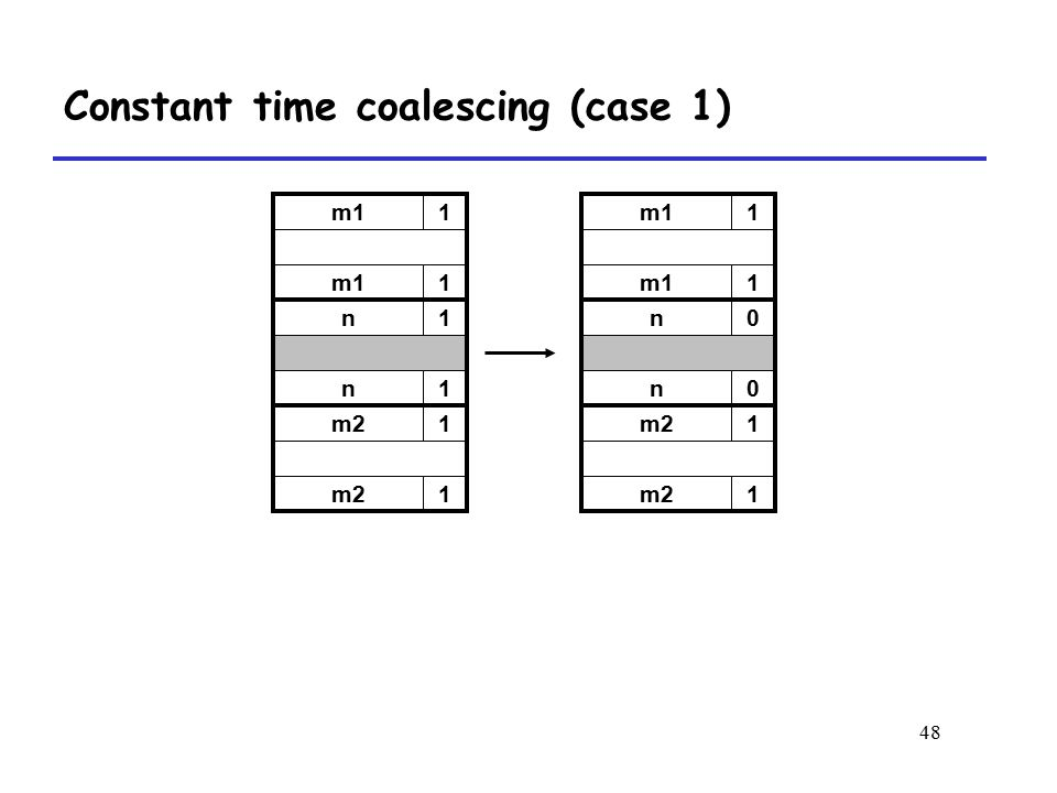 Constant time coalescing (case 1)
