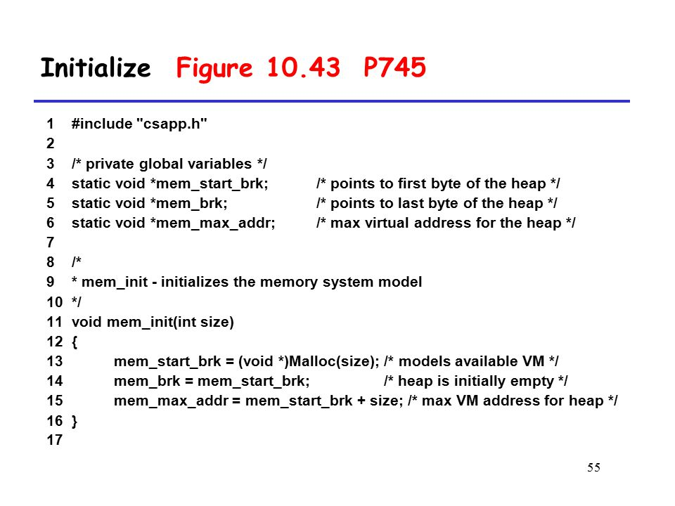 Initialize Figure 10.43 P745 1 #include csapp.h 2