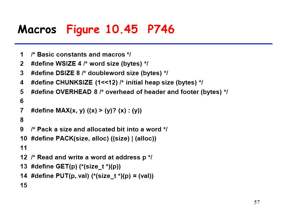 Macros Figure 10.45 P746 1 /* Basic constants and macros */