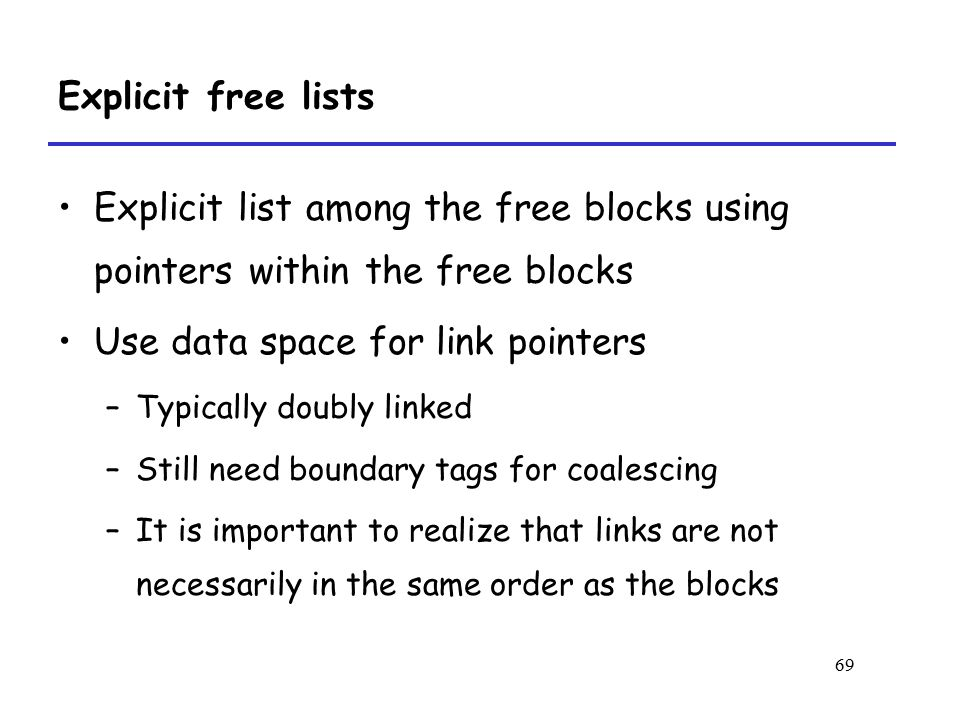 Use data space for link pointers