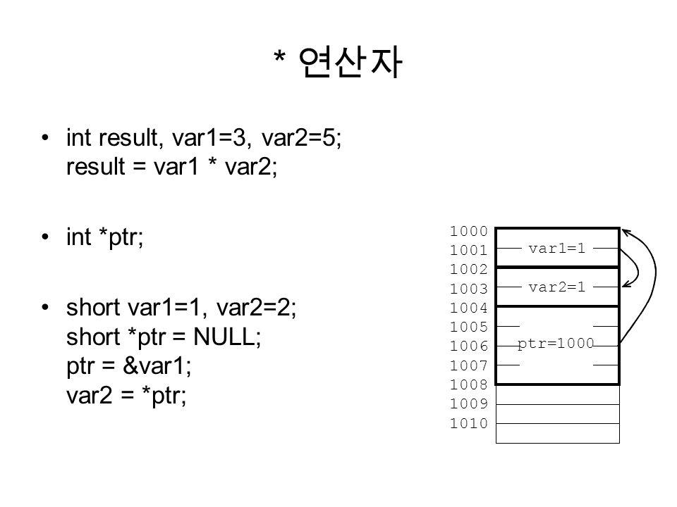 * 연산자 int result, var1=3, var2=5; result = var1 * var2; int *ptr;