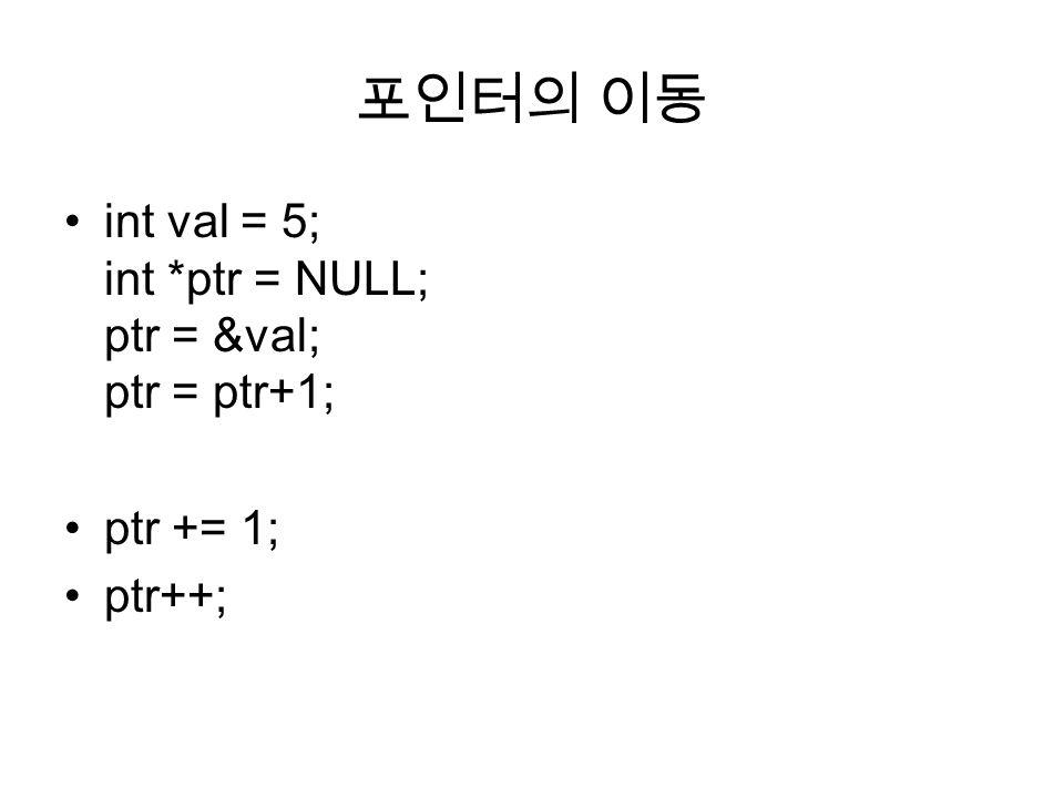 포인터의 이동 int val = 5; int *ptr = NULL; ptr = &val; ptr = ptr+1;