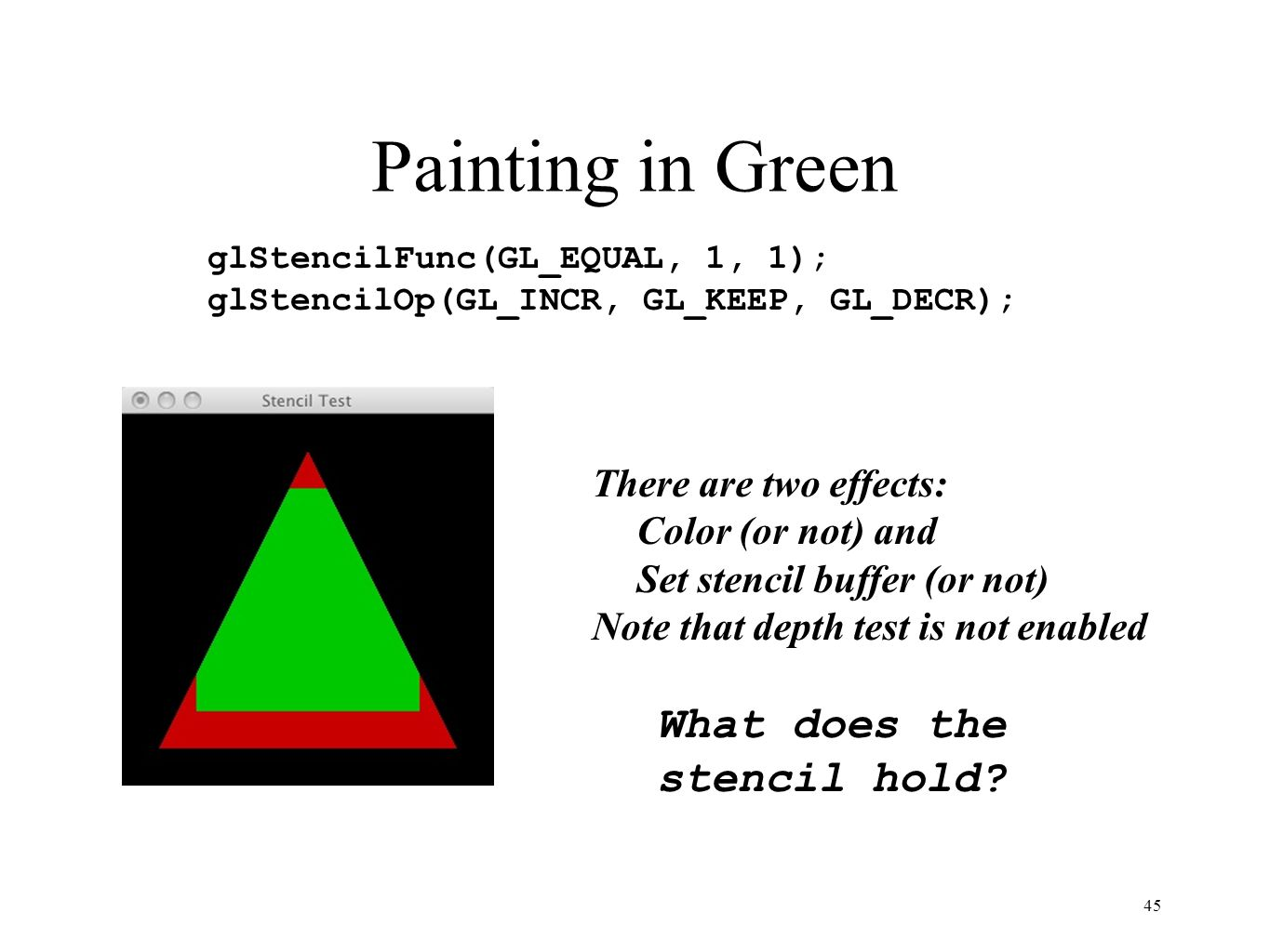 Painting in Green What does the stencil hold There are two effects: