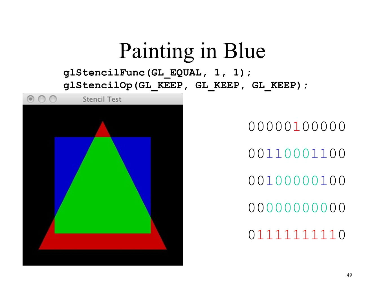 Painting in Blue glStencilFunc(GL_EQUAL, 1, 1); glStencilOp(GL_KEEP, GL_KEEP, GL_KEEP); 00000100000.