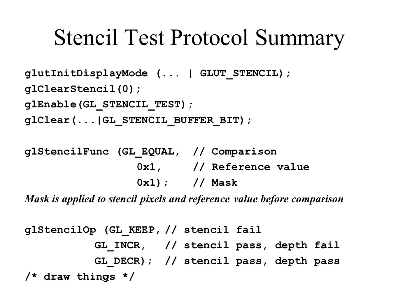 Stencil Test Protocol Summary
