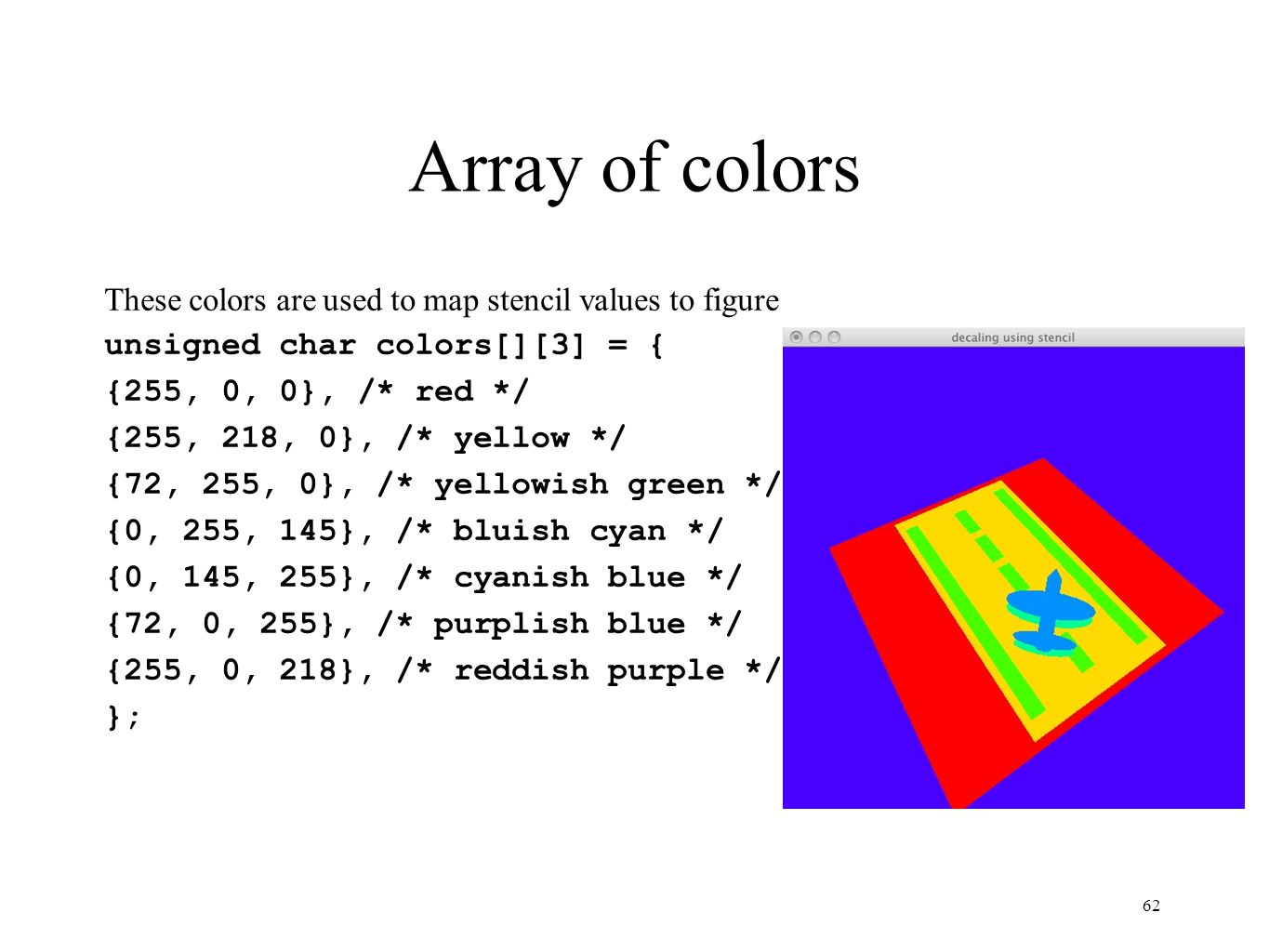Array of colors