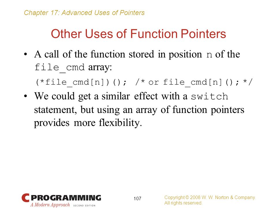 Other Uses of Function Pointers