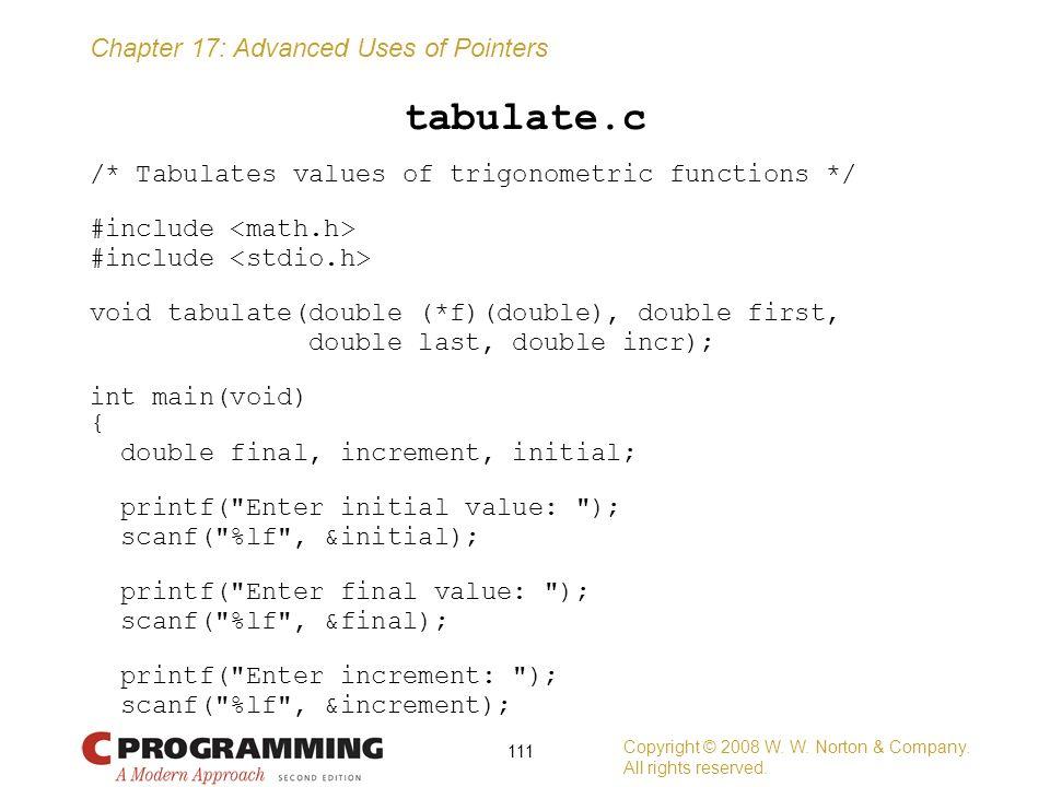 tabulate.c /* Tabulates values of trigonometric functions */