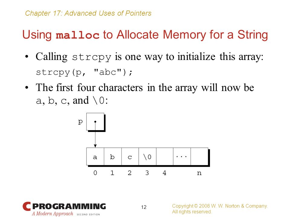 Using malloc to Allocate Memory for a String