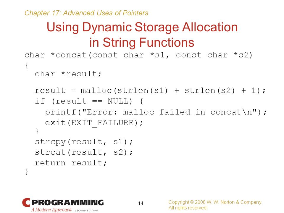 Using Dynamic Storage Allocation in String Functions