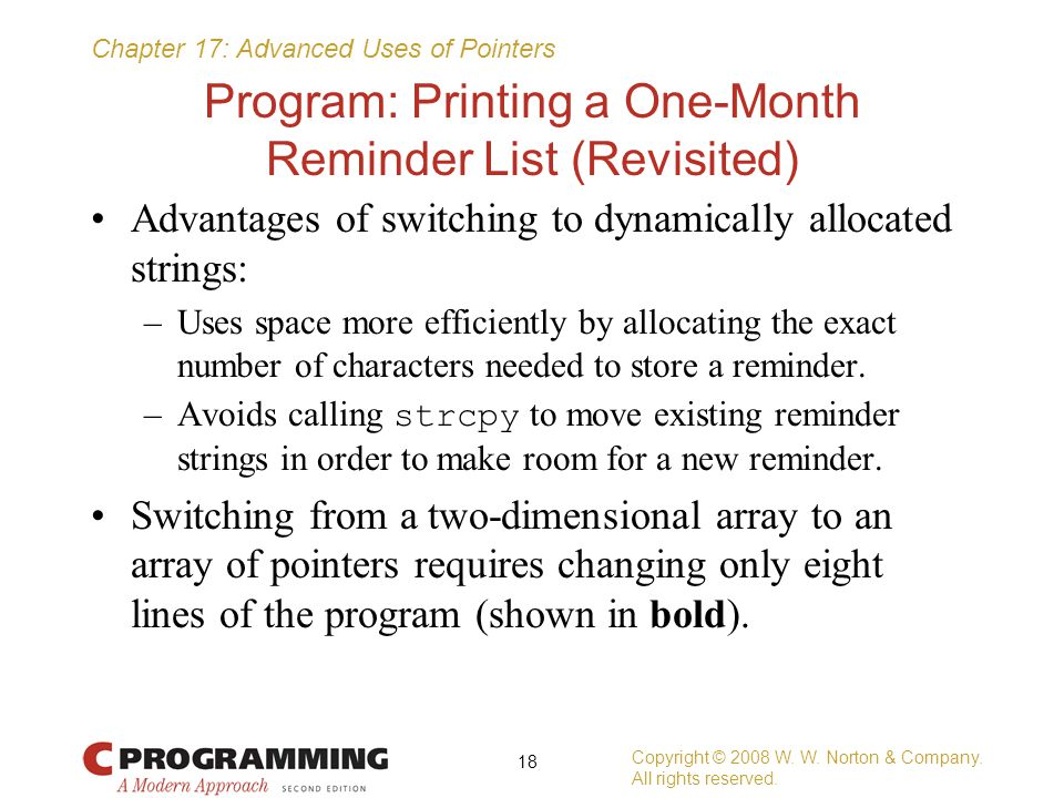 Program: Printing a One-Month Reminder List (Revisited)