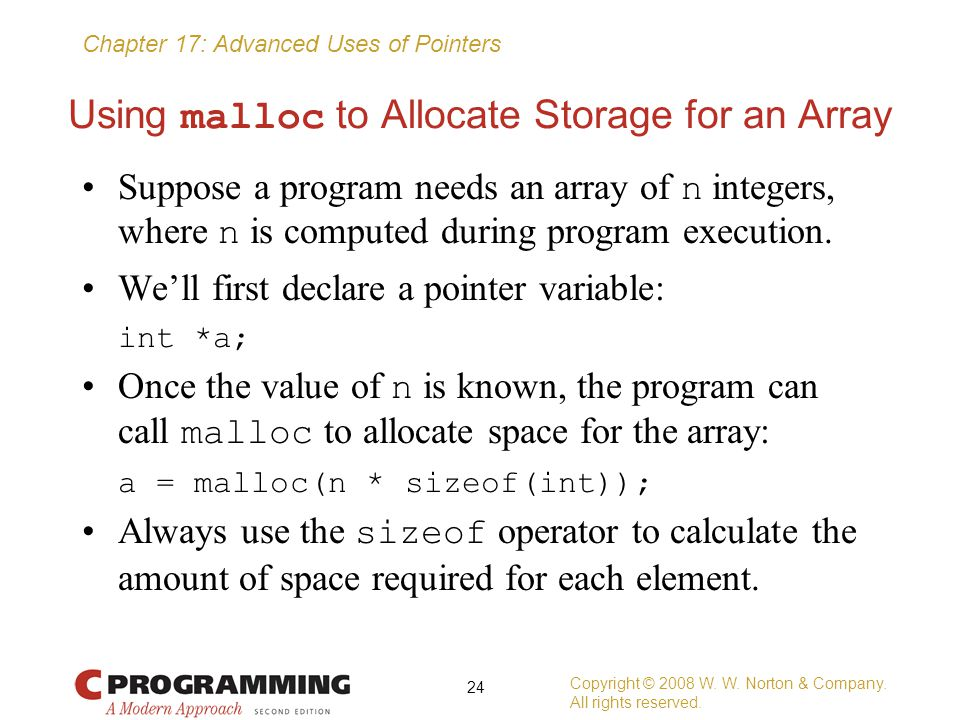Using malloc to Allocate Storage for an Array