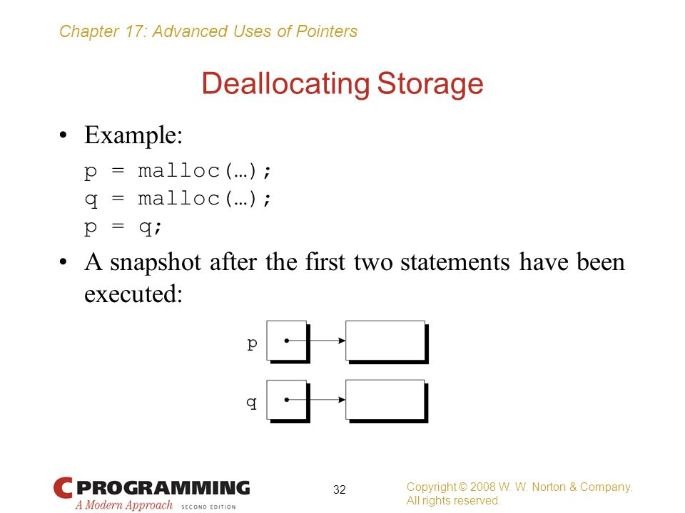 Deallocating Storage Example: