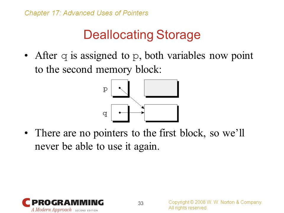 Deallocating Storage After q is assigned to p, both variables now point to the second memory block: