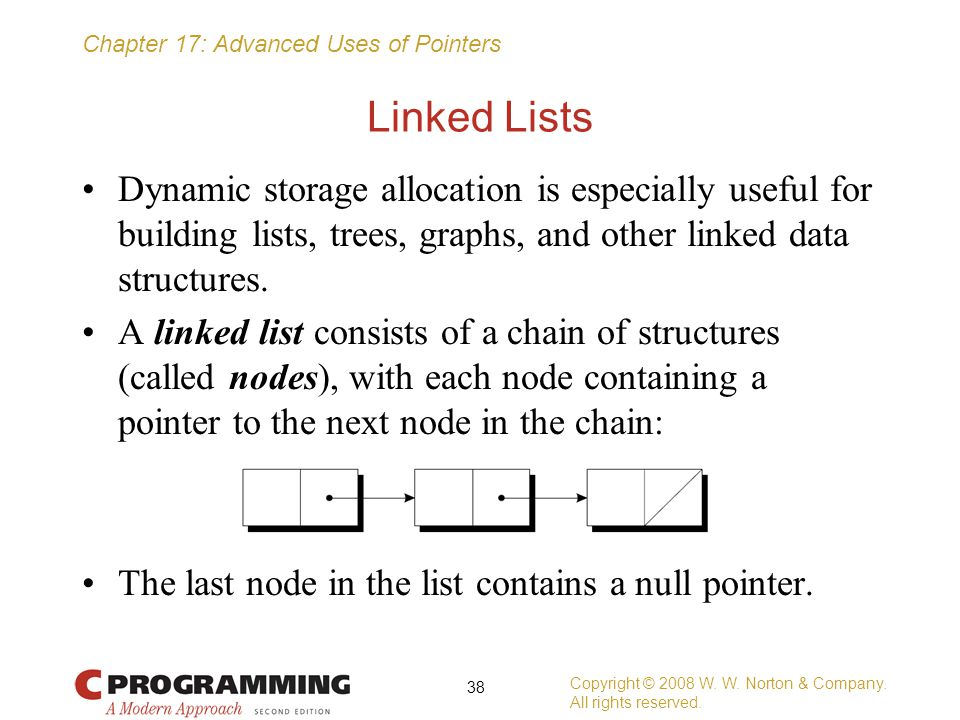 Linked Lists Dynamic storage allocation is especially useful for building lists, trees, graphs, and other linked data structures.