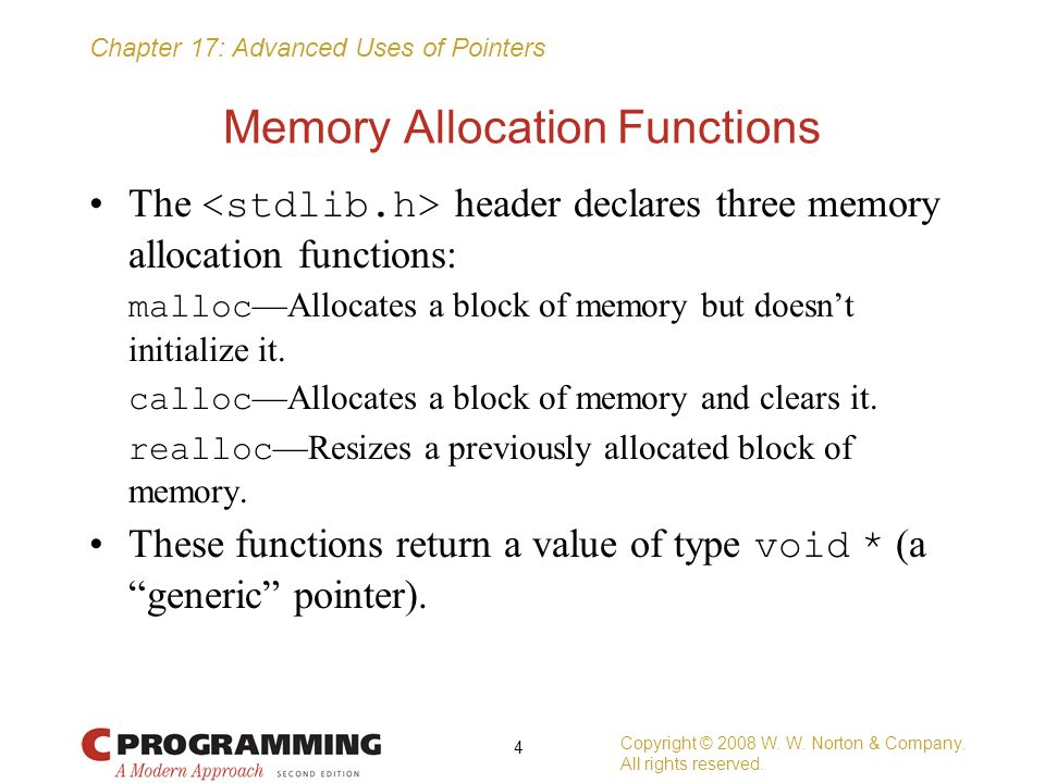 Memory Allocation Functions