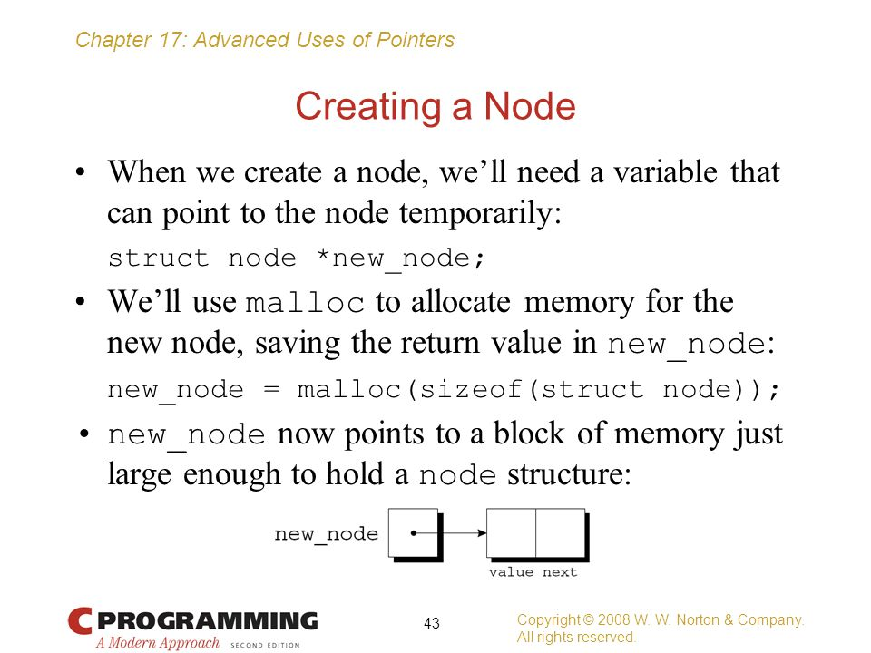 Creating a Node When we create a node, we'll need a variable that can point to the node temporarily: