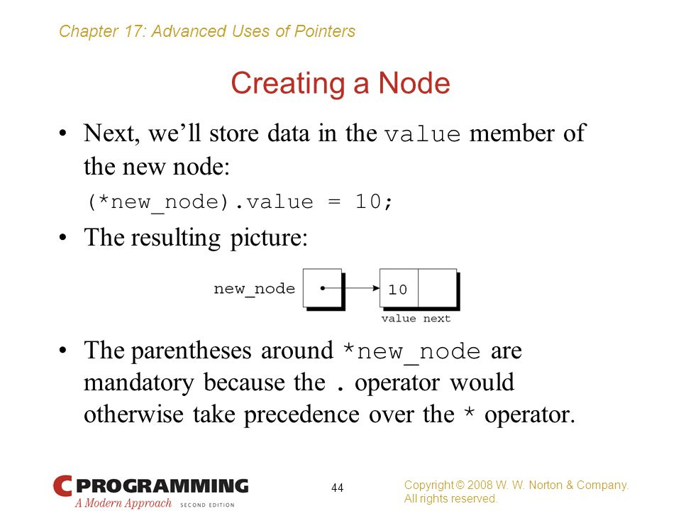 Creating a Node Next, we'll store data in the value member of the new node: (*new_node).value = 10;