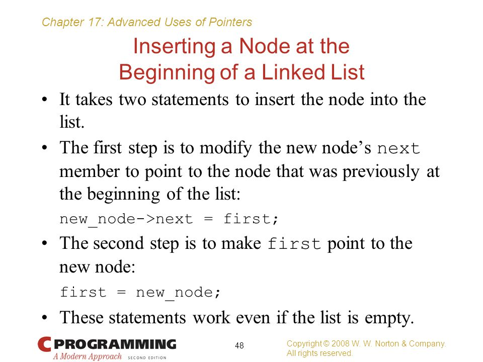 Inserting a Node at the Beginning of a Linked List